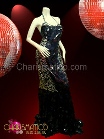 Jumbo black sequin pageant gown with silver and black side panels