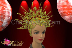 CHARISMATICO Beaded star-burst golden open work cap headdress with amber crystals