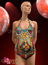 Highly jeweled multi-color rainbow red, amber, and teal leotard