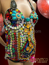 CHARISMATICO Highly Jeweled Multi-Color Rainbow Red, Amber, And Teal Leotard