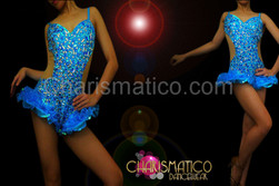 Blue Illusion cutout sapphire, topaz, and crystal covered hip-ruffle leotard