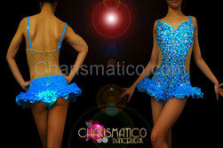 CHARISMATICO Blue Illusion Cutout Sapphire, Topaz, And Crystal Covered Hip-Ruffle Leotard