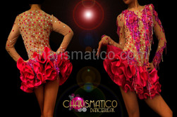 Showgirl Nude illusion beaded fuchsia lace accented satin tutu dance dress