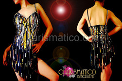 Black self fringed dress with silver and gold sequin details