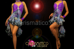 Crystal accented shiny purple Latin dance dress with floral ruffles