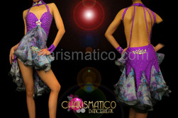 CHARISMATICO Crystal accented shiny purple Latin dance dress with floral ruffles