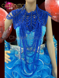 High necked Rhinestone accented blue beaded Gothic Showgirl Diva's necklace