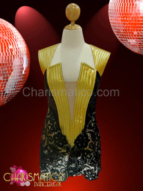 Beyonce Super Bowl  Black Leather Stunner metallic gold vinyl black lace dress