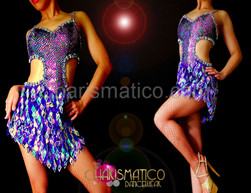 DIVA sexy Purple and silver laser diamond fringe cutout dance dress