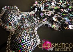 Las Vegas Sleek black and silver laser diamond fringe cutout dance dress