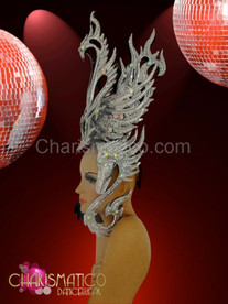 """Metallic silver glitter """"swan"""" styled headdress with iridescent crystal accents"""