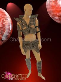 Sexy Black rhinestone accented six piece futuristic warrior Men's costume