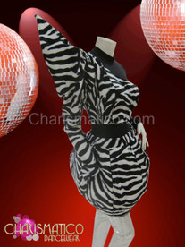 Asymmetrical black and white zebra print balloon skirt Lady Gaga Costume