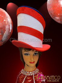 Funky Fake fur covered asymmetrical 4th of July top hat