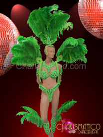 Complete emerald accented green carnival samba set with ostrich plumes