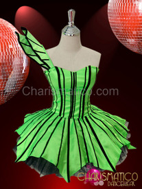 Asymmetrical green Gothic Diva Dollie Dress with black ribbon detailing