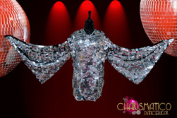 Jumbo sequin Metallic silver Drag Queen mini-dress with Wing sleeves