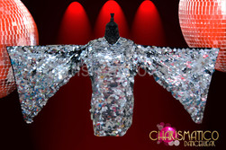 CHARISMATICO Jumbo sequin Metallic silver Drag Queen mini-dress with Wing sleeves