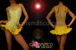Cutout Illusion bright yellow hip-ruffle leotard with iridescent crystal accents
