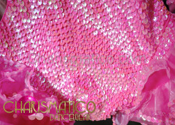 CHARISMATICO Diva'S Neon Pink Iridescent Sequined Cutout Illusion Hip-Ruffle Dance Leotard