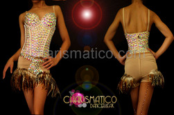 CHARISMATICO Nude toned iridescent crystal studded corset and matching Boy-short feather skirt