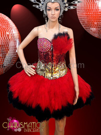 ShowGIRL Burlesque Gold sequined crystal corset with red feathers skirt