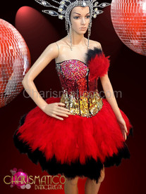 CHARISMATICO Show Girl Burlesque Gold Sequined Crystal Corset With Red Feathers Skirt