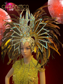 Yellow and brown feather gold phoenix style crystal headdress