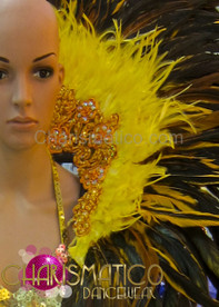 Drag Queen Gold accented yellow and black feather collar backpack