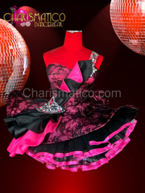 Black lace accented Fushia Dollie dress with iridescent crystal accents