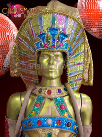 Male Blue and metallic gold glitter sequin Egyptian pharaoh headdress