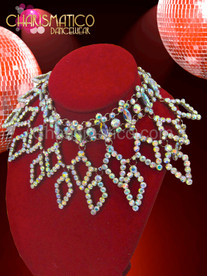 Choker styled iridescent crystal rhinestone necklace with open diamond falls