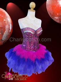 Jeweled Fuchsia corset plus purple, blue and fuchsia feather skirt