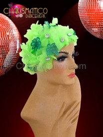 Neon green organza crystal centered flower cap with green lace accents