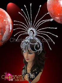 Sheer silver openwork beaded cap styled showgirl's cabaret sun headdress