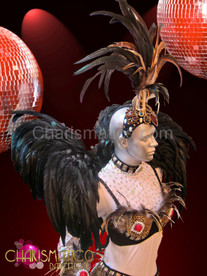 Natural Brown feather samba costume set with Jumbo crystal accents