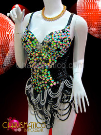 CHARISMATICO Iridescent Jeweled Black Sequin Dance Leotard With Draped Headed Skirt