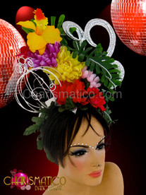 CHARISMATICO Birdcage accented daffodil and Mum floral headdress with silver swirls