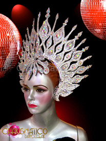 Silver glitter and mirror tiled iridescent crystal swept back headdress