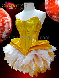 Metallic gold vinyl Gaga corset with gold and white tutu