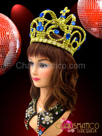 CHARISMATICO Drag Queen Metallic Gold Beaded Crown With Sapphire Crystal Embellishments