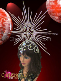 CHARISMATICO Rhinestone and iridescent crystal swirled cap with stunning burst halo