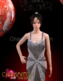 CHARISMATICO Figure Flattering Silver Sequin Pageant Gown With Black Feather Skirt