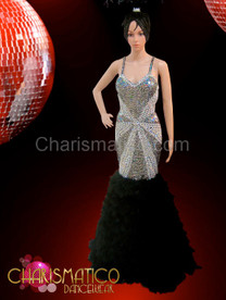 Figure flattering silver sequin pageant gown with black feather skirt