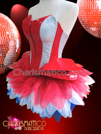 CHARISMATICO Red and silver Gaga styled corset with matching net tutu