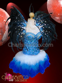 CHARISMATICO Pale Blue Corset, Matching Royal Blue Feathered Skirt And Collar
