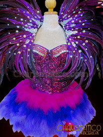 CHARISMATICO Fuchsia Sequined Corset, Matching Blue Feathered Skirt And Purple Collar