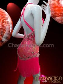 CHARISMATICO Pink Grapefruit Sequined Diva Dance Dress With Long Fringe Skirt
