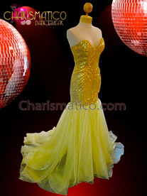 CHARISMATICO Golden Sequined Corset Mermaid Gown With Yellow Tulle Floor-Length Skirt
