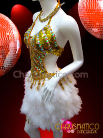 CHARISMATICO Golden Sequin Salsa Dance Dress With Rhinestones And White Feathers